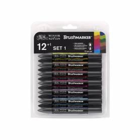 Набор маркеров Brushmarker 12 шт. + блендер, яркие оттенки