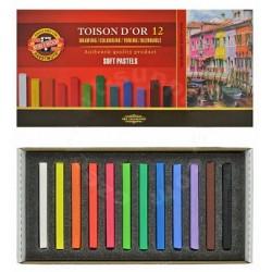 Набор сухой мягкой пастели Koh-i-noor Toison d'or Soft, 12 прямоугольных мелков