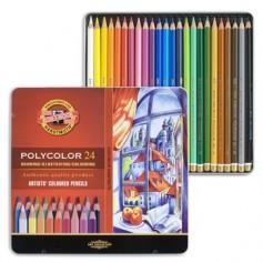 Цветные карандаши Koh-i-noor Polycolor, 24 шт., металл
