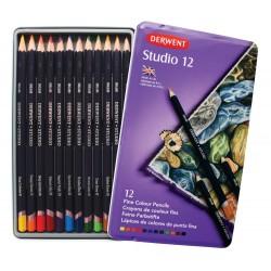 Цветные карандаши Derwent Studio, 12 шт., металл