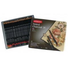Набор цветных угольных карандашей Derwent Tinted Charcoal, 24 цвета, металлическая упаковка