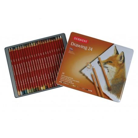 Набор цветных карандашей Derwent Drawing, 24 цвета, металлическая упаковка