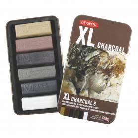 Набор угля Derwent XL, 6 цветов, металлическая упаковка