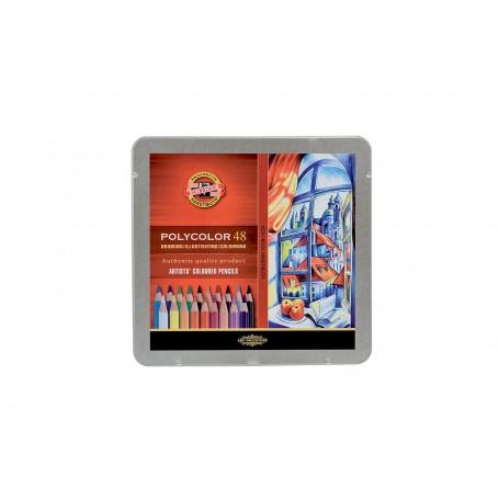 Цветные карандаши Koh-i-noor Polycolor, 48 цветов, металл