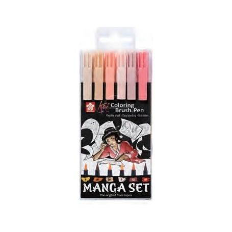 Набор акварельных маркеров Koi Manga, телесные цвета, 6 шт.