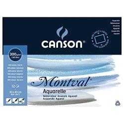 Блок для акварели Canson Montval Фин 30x40 см., 12 л., 300 г/м2, склейка по 4 сторонам