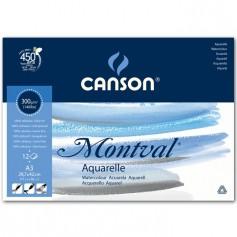 Альбом для акварели Canson Montval Фин 29.7x42 см., 12 л., 300 г/м2, склейка по короткой стороне