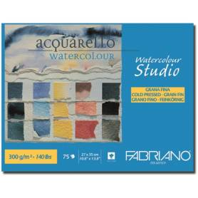 Альбом для акварели Fabriano Watercolour Studio Фин 27x35 см., 75 л., 300 г/м2, склейка по длинной стороне