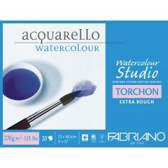 Блок для акварели Fabriano Watercolour Studio Торшон 23х30,5 см., 20 л., 270 г/м2, склейка по 4 сторонам