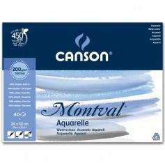 Альбом для акварели Canson Montval Фин 24х32 см., 40 л., 200 г/м2, склейка по длинной стороне