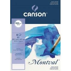 Папка бумаги для акварели Canson Montval Фин 29,7х42 см., 8 л., 300 г/м2