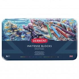 Чернильные блоки Derwent Inktense, 36 цветов, металл
