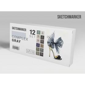 Лимитированный набор маркеров Sketchmarker Сложные серые тона, 12 цветов