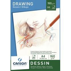 Альбом для графики Canson Dessin, 21х29.7 см., 20 л., 160 г/м2., склейка по верхней стороне