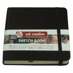 Блокнот для зарисовок Royal Talens Art Creation, 12х12 см., 160 г/м2, 80 л., твердая черная обложка