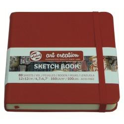 Блокнот для зарисовок Royal Talens Art Creation, 12х12 см., 160 г/м2, 80 л., твердая красная обложка