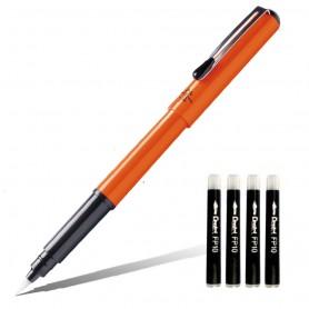 Ручка-кисть Pentel Pocket Brush Pen Orange, 4 картриджа в комплекте