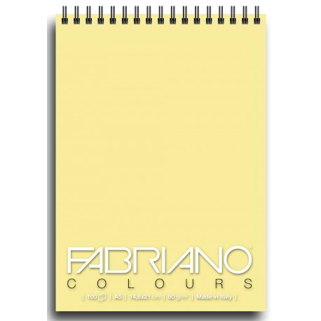 Блокнот для зарисовок Fabriano Colours 14,8x21 см., 100 л., 80 г/м2., Желтый