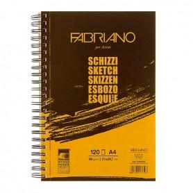 Альбом для рисования Fabriano Schizzi, 21x29,7 см., 120 л., 90 г/м2, спираль по длинной стороне