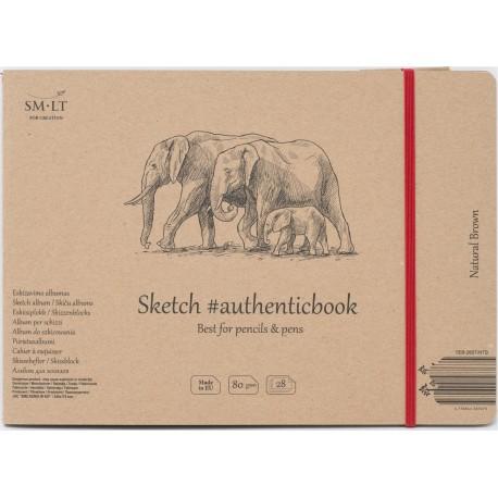 Скетчбук SM-LT Authentic Brown  с закладкой-застежкой, книжный переплет (сшитый), 24.5x18.1 см., 28 л., 80 г/м2.