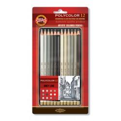 Цветные карандаши Koh-i-noor Polycolor Grey Line, серые оттенки. 12 цветов, металлическая коробка