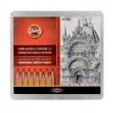 Набор чернографитных карандашей ART, 24 шт., металлическая упаковка