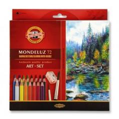 Акварельные цветные карандаши Koh-i-noor Mondeluz, 72 цвета, картон + две кисти и точилка