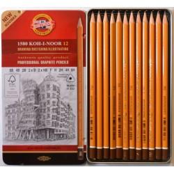 Набор чернографитных карандашей Koh-i-noor 1580, 12 шт., 6B - 6H, металл