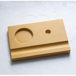 Подставка деревянная под чернильницу и держатель, желтая