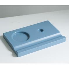 Подставка деревянная под чернильницу и держатель, синяя