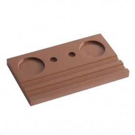 Подставка деревянная двойная под чернильницу и держатель, коричневая