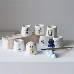 Чернильница-непроливайка с рисунком и крышечкой, керамика (7 видов)