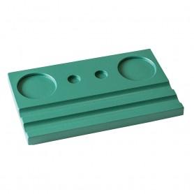 Подставка деревянная двойная под чернильницу и держатель, зеленая