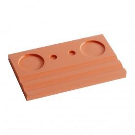 Подставка деревянная двойная под чернильницу и держатель, оранжевая