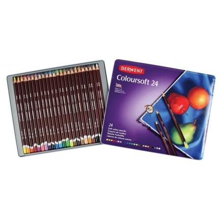 Набор цветных карандашей COLOURSOFT, 24 цв., металл