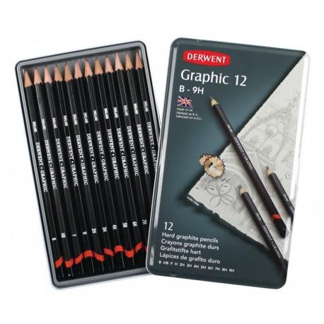 Набор чернографитных карандашей GRAPHIC HARD, 12 шт., 9B-H