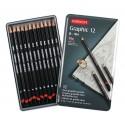 Набор чернографитных карандашей Graphic Hard, 12 шт., металлическая упаковка