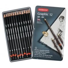 Набор чернографитных карандашей GRAPHIC HARD, 12 шт., 6B-4H